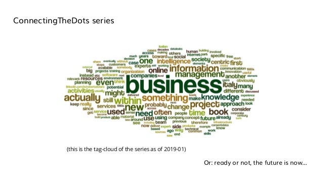 ConnectingTheDots series Or: ready or not, the future is now… (this is the tag-cloud of the series as of 2019-01)