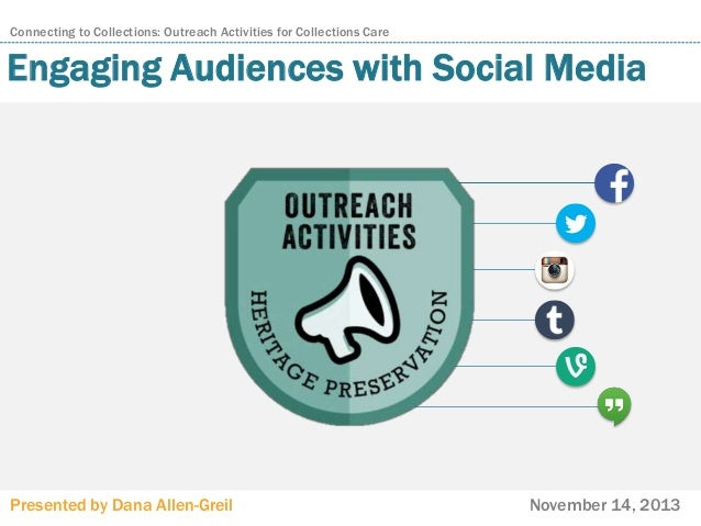 Connecting to Collections: Outreach Activities for Collections Care  Engaging Audiences with Social Media  Presented by Da...