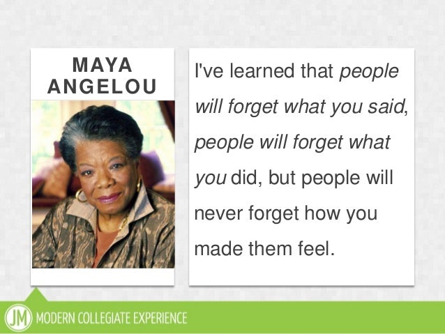 MAYAANGELOUIve learned that peoplewill forget what you said,people will forget whatyou did, but people willnever forget ho...