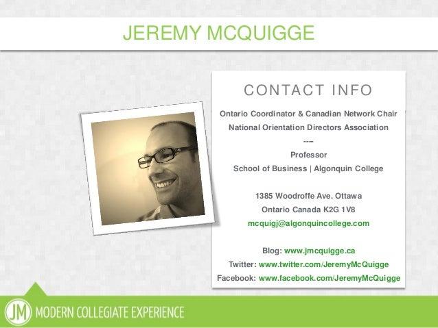 CONTACT INFOOntario Coordinator & Canadian Network ChairNational Orientation Directors Association----ProfessorSchool of B...
