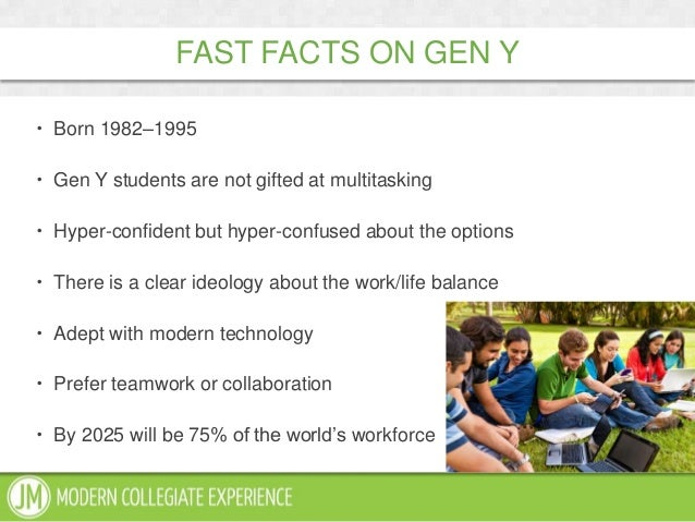 FAST FACTS ON GEN Y Born 1982–1995 Gen Y students are not gifted at multitasking Hyper-confident but hyper-confused abo...