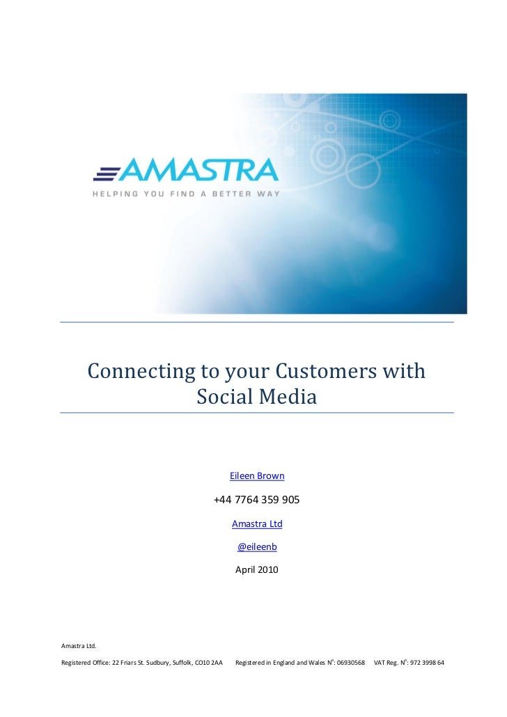 Connecting to your Customers with                   Social Media                                                          ...