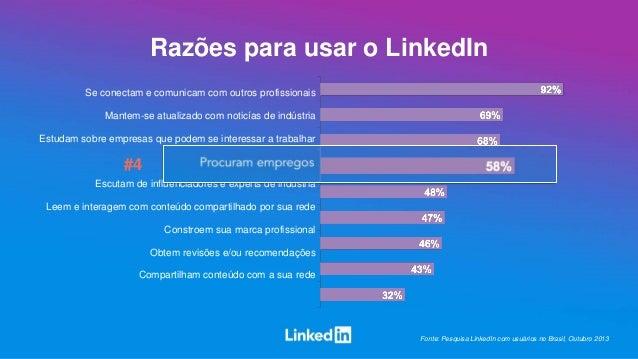 Razões para usar o LinkedIn Se conectam e comunicam com outros profissionais Mantem-se atualizado com noticías de indústri...