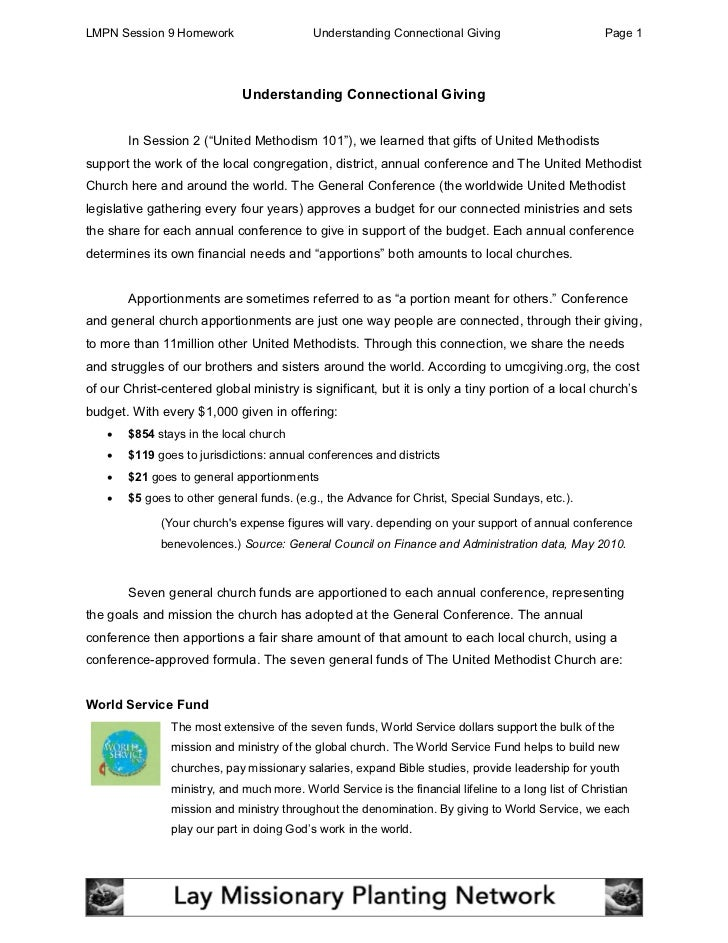 LMPN Session 9 Homework                     Understanding Connectional Giving                          Page 1             ...