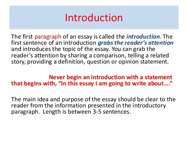 good first sentences for essays Your entire essay will be a response to this question, and your introduction is the first step toward that end your direct answer to the assigned question will be your thesis, and your thesis will likely be included in your introduction, so it is a good idea to use the question as a jumping off point imagine that you are assigned.