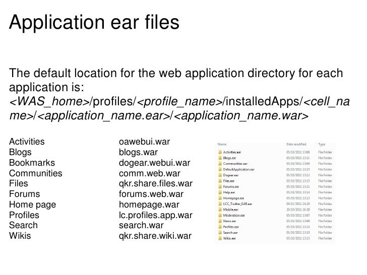Application ear filesThe default location for the web application directory for eachapplication is:<WAS_home>/profiles/<pr...