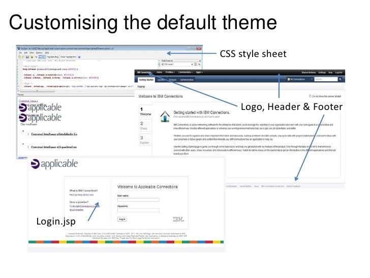 Customising the default theme                      CSS style sheet                          Logo, Header & Footer  Login.jsp