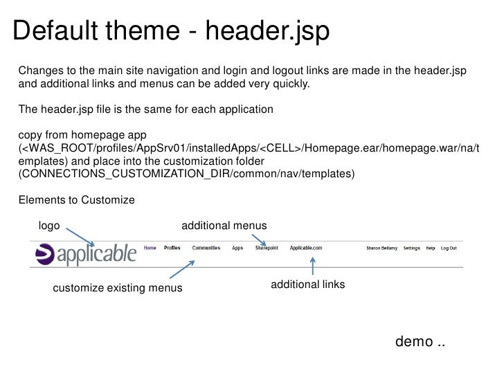 Default theme - header.jspChanges to the main site navigation and login and logout links are made in the header.jspand add...