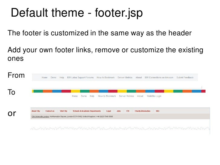 Default theme - footer.jspThe footer is customized in the same way as the headerAdd your own footer links, remove or custo...