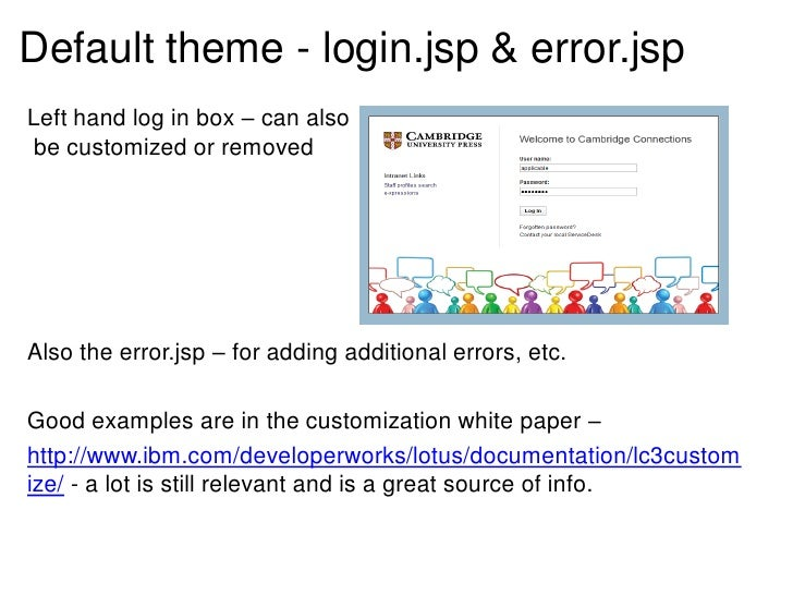 Default theme - login.jsp & error.jspLeft hand log in box – can also be customized or removedAlso the error.jsp – for addi...