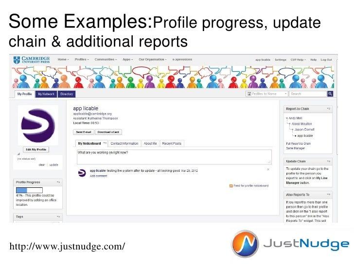 Some Examples:Profile progress, updatechain & additional reportshttp://www.justnudge.com/