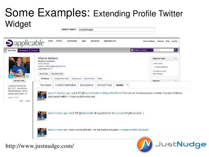 Some Examples: Extending Profile TwitterWidgethttp://www.justnudge.com/