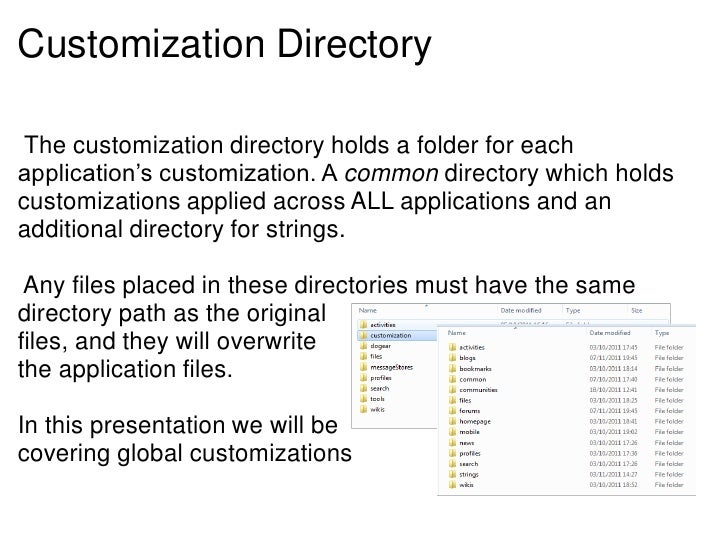 Customization Directory The customization directory holds a folder for eachapplication's customization. A common directory...