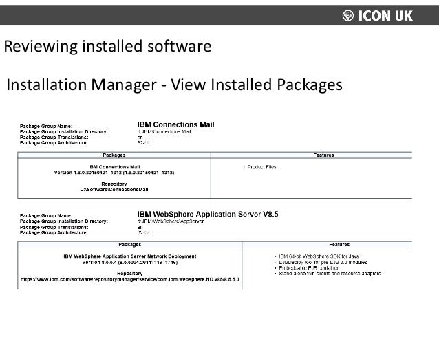 Installation  Manager  -‐  View  Installed  Packages Reviewing  installed  software