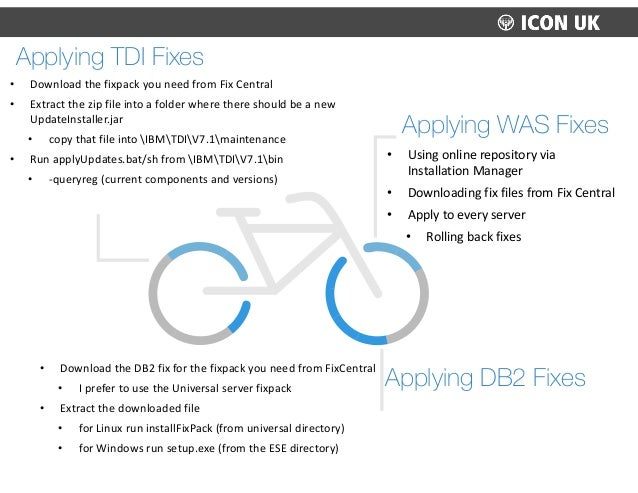 Applying DB2 Fixes • Download  the  DB2  fix  for  the  fixpack  you  need  from  FixCentral   • I ...