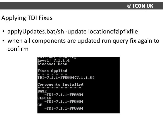 • applyUpdates.bat/sh  -‐update  locationofzipfixfile   • when  all  components  are  updated  run  que...