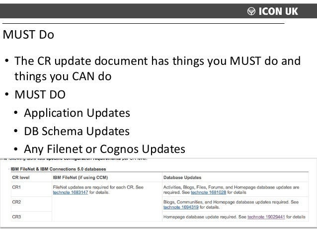 • The  CR  update  document  has  things  you  MUST  do  and   things  you  CAN  do   • MUST ...