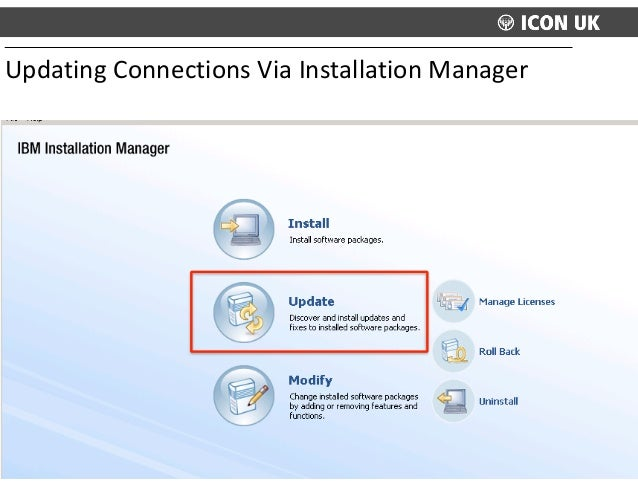 Updating  Connections  Via  Installation  Manager