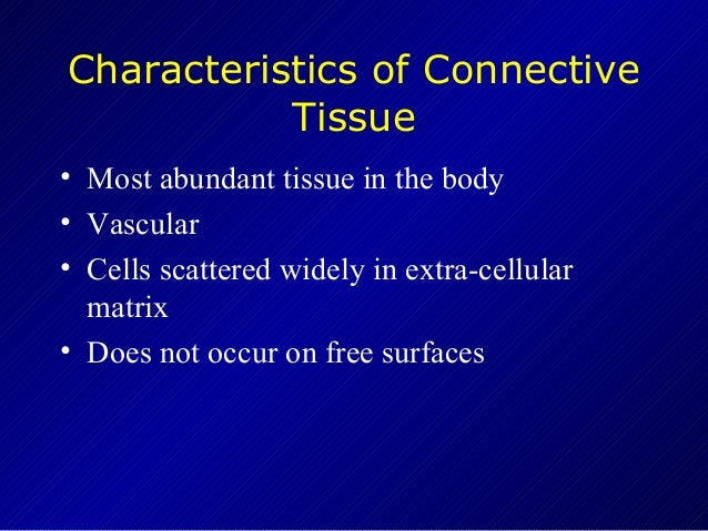 connective tissue characteristics The four types of tissues epithelial tissue, also referred to as epithelium connective tissue, as its name implies, binds the cells and organs of the body together and functions in the protection, support, and integration of all parts of the body.