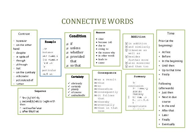 Connectives for english essay