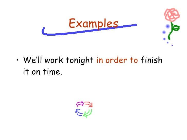 <ul><li>We'll work tonight  in order to  finish it on time. </li></ul>Examples