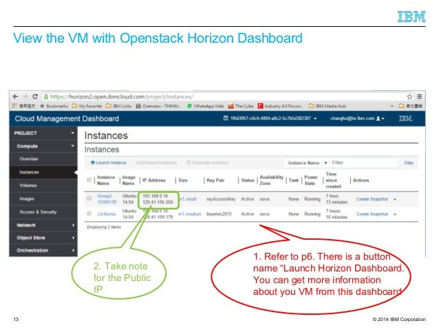 """© 2014 IBM Corporation View the VM with Openstack Horizon Dashboard 13 1. Refer to p6. There is a button name """"Launch Hori..."""