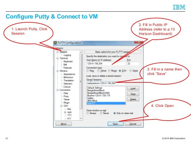 © 2014 IBM Corporation Configure Putty & Connect to VM 21 1. Launch Putty, Click Session 2. Fill in Public IP Address (ref...