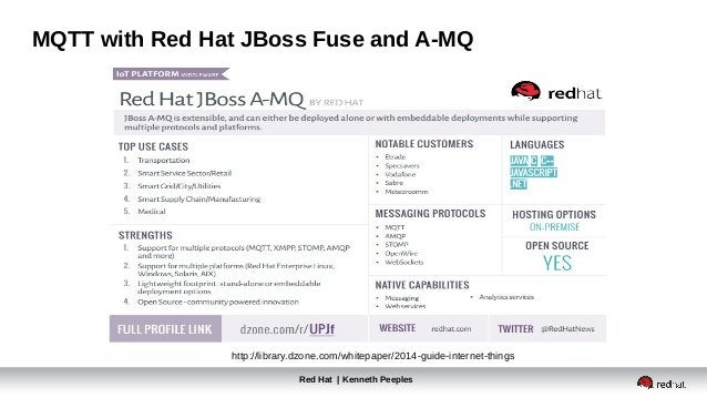 Red Hat | Kenneth Peeples MQTT with Red Hat JBoss Fuse and A-MQ http://library.dzone.com/whitepaper/2014-guide-internet-th...