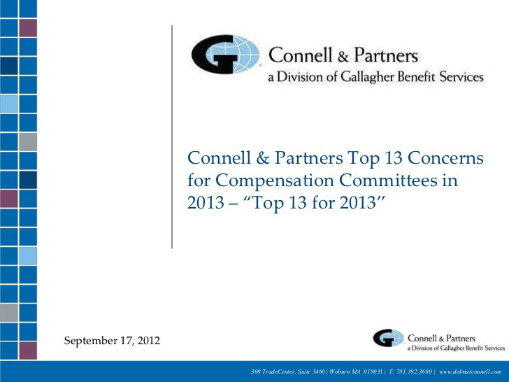 """Connell & Partners Top 13 Concerns                     for Compensation Committees in                     2013 – """"Top 13 f..."""