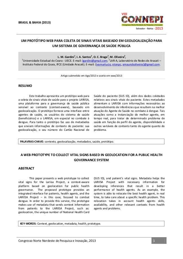 BRASIL & BAHIA (2013)  UM PROTÓTIPO WEB PARA COLETA DE SINAIS VITAIS BASEADO EM GEOLOCALIZAÇÃO PARA UM SISTEMA DE GOVERNAN...