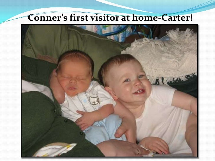 Conner's first visitor at home-Carter!<br />
