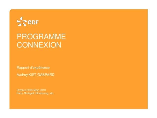 PROGRAMME CONNEXION Rapport d'expérience Audrey KIST GASPARD Octobre 2008-Mars 2010 Paris, Stuttgart, Strasbourg, etc.