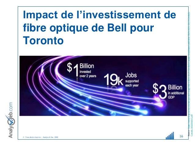 © Tous droits réservés – Analyweb Inc. 2008 Impact de l'investissement de fibre optique de Bell pour Toronto 16 Source:htt...