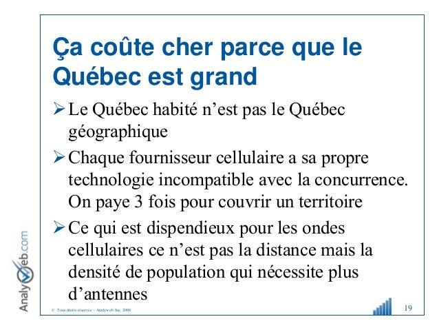 © Tous droits réservés – Analyweb Inc. 2008 Ça coûte cher parce que le Québec est grand Le Québec habité n'est pas le Qué...