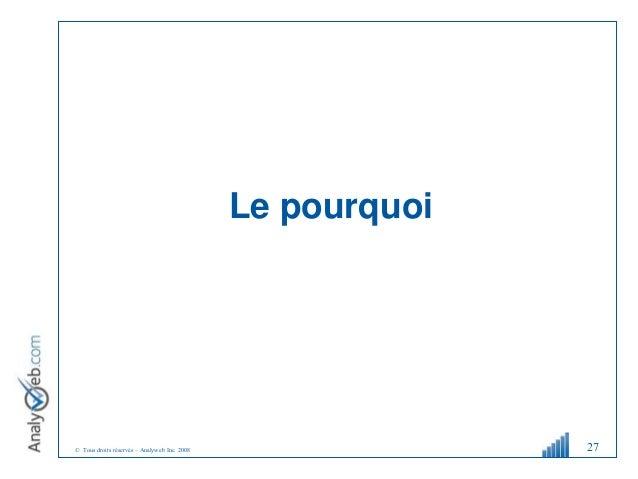 © Tous droits réservés – Analyweb Inc. 2008 Le pourquoi 27