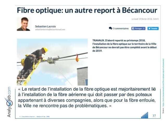 © Tous droits réservés – Analyweb Inc. 2008 37 Source:https://www.lecourriersud.com/fibre-optique-report-a-becancour/ « Le...