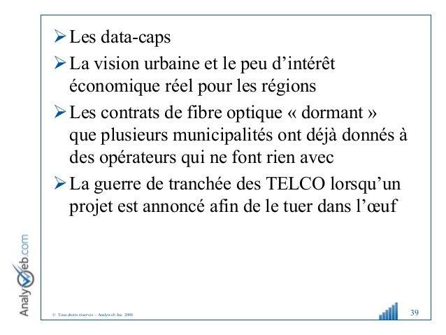 © Tous droits réservés – Analyweb Inc. 2008 Les data-caps La vision urbaine et le peu d'intérêt économique réel pour les...