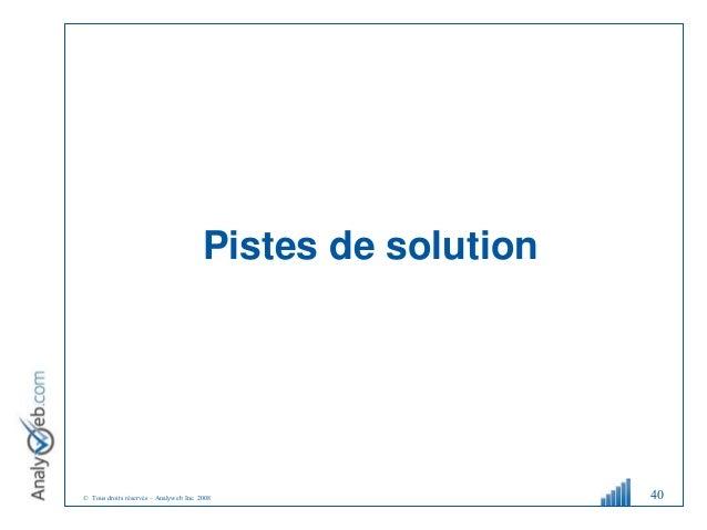 © Tous droits réservés – Analyweb Inc. 2008 Pistes de solution 40