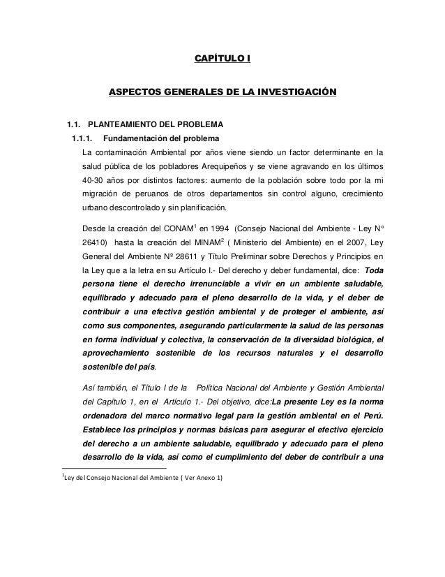 CAPÍTULO I               ASPECTOS GENERALES DE LA INVESTIGACIÓN    1.1. PLANTEAMIENTO DEL PROBLEMA     1.1.1.   Fundamenta...