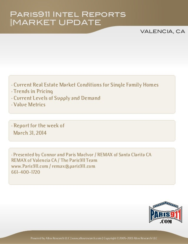 Valencia California Housing Market Update March 31, 2014