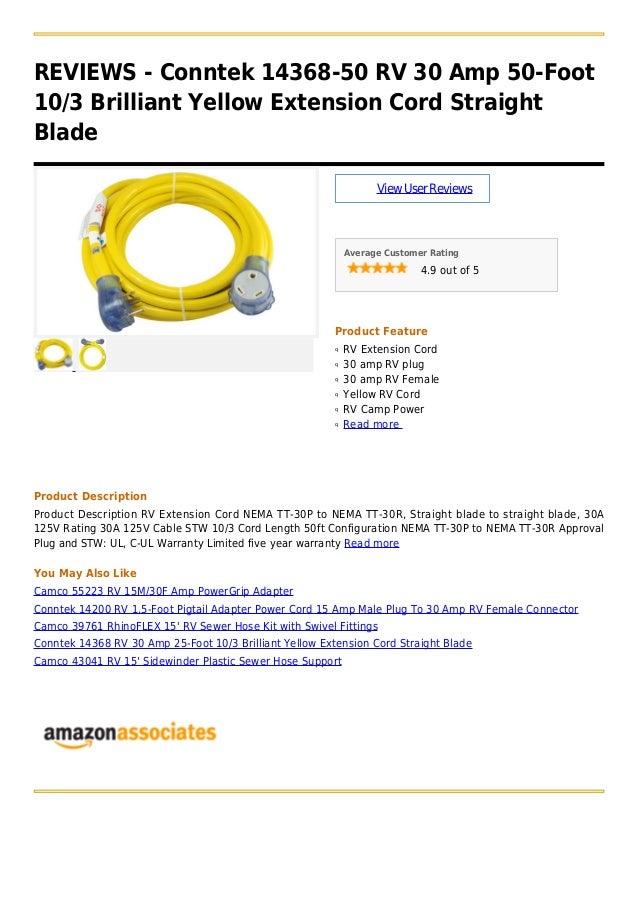Conntek 14368 50 Rv 30 Amp 50 Foot 10 3 Brilliant Yellow Extension Co