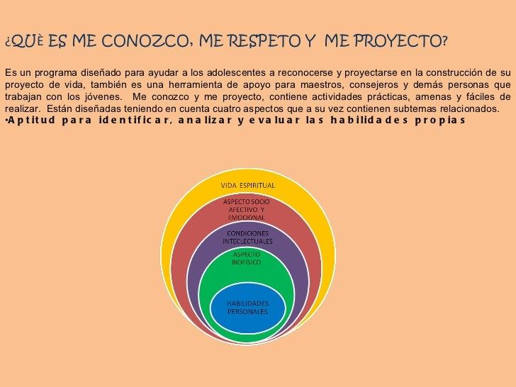 <ul><li>¿ QU È  ES ME CONOZCO, ME RESPETO Y  ME PROYECTO? </li></ul><ul><li>Es un programa diseñado para ayudar a los adol...
