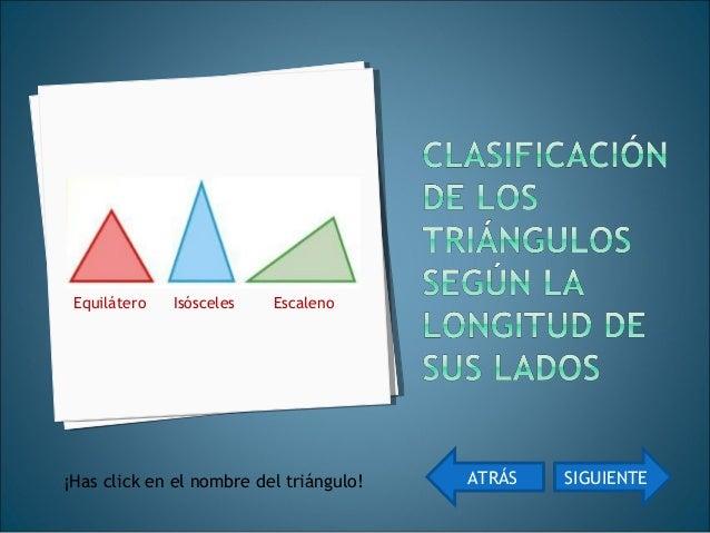 Equilátero Isósceles EscalenoEquilátero Isósceles Escaleno ATRÁS Has click sobre las imágenes ACTIVIDAD 1 ACTIVIDAD 1