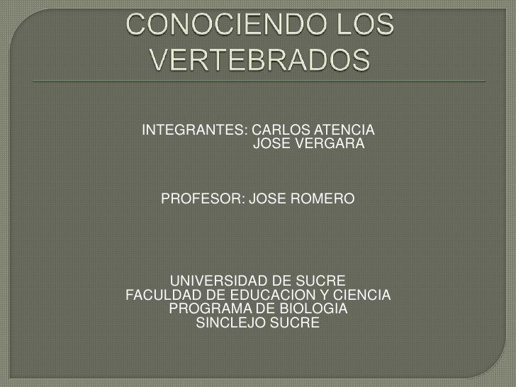 CONOCIENDO LOS VERTEBRADOS <br />INTEGRANTES: CARLOS ATENCIA <br />                         JOSE VERGARA<br />PROFESOR: JO...