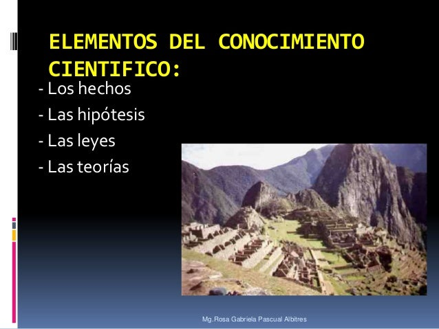 ELEMENTOS DEL CONOCIMIENTO CIENTIFICO:  - Los hechos - Las hipótesis - Las leyes - Las teorías  Mg.Rosa Gabriela Pascual A...