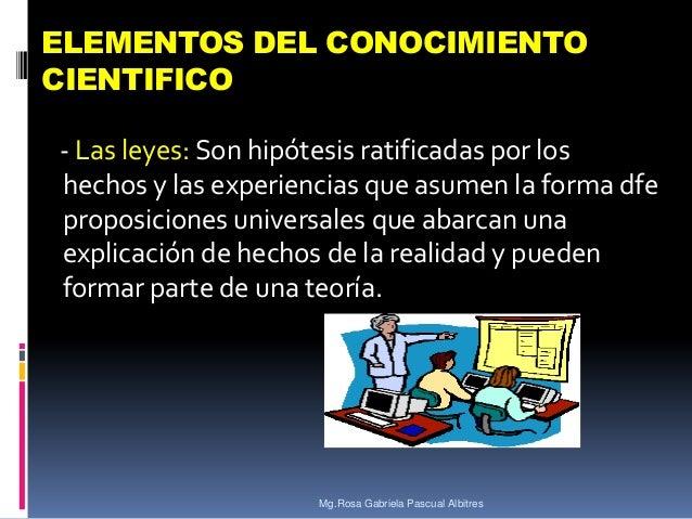 ELEMENTOS DEL CONOCIMIENTO CIENTIFICO - Las leyes: Son hipótesis ratificadas por los hechos y las experiencias que asumen ...