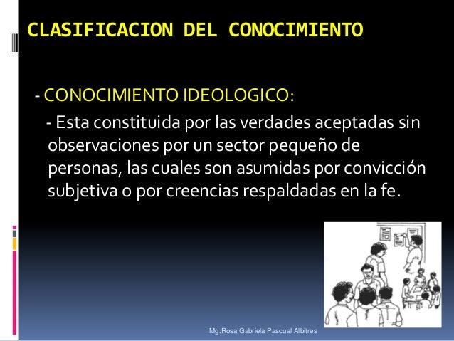 CLASIFICACION DEL CONOCIMIENTO - CONOCIMIENTO IDEOLOGICO: - Esta constituida por las verdades aceptadas sin observaciones ...