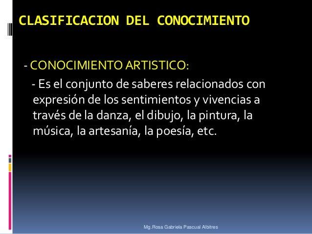 CLASIFICACION DEL CONOCIMIENTO - CONOCIMIENTO ARTISTICO: - Es el conjunto de saberes relacionados con expresión de los sen...