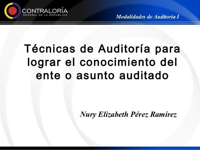 Modalidades de Auditoria ITécnicas de Auditoría paralograr el conocimiento del  ente o asunto auditado         Nury Elizab...