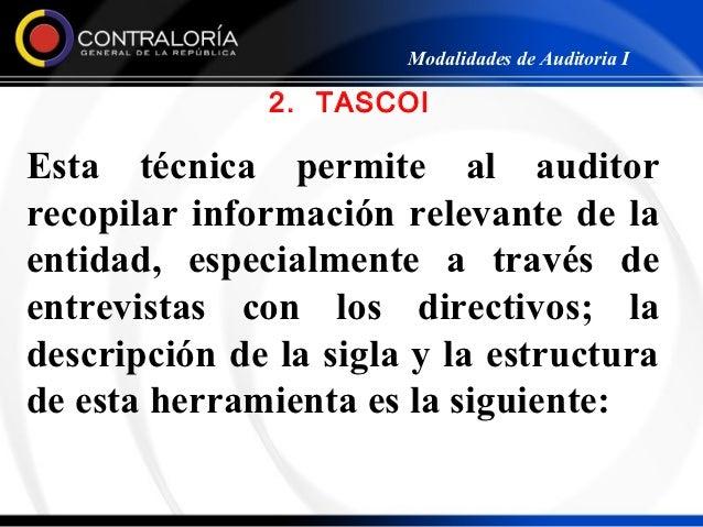 Modalidades de Auditoria I              2. TASCOIEsta técnica permite al auditorrecopilar información relevante de laentid...